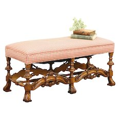 English Renaissance Style 1915 Antique Carved Hall Bench, Recent Upholstery