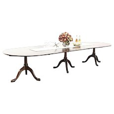 "Banquet Size Mahogany Triple Pedestal 12' 4"" Dining Table, Signed Kittinger NY"