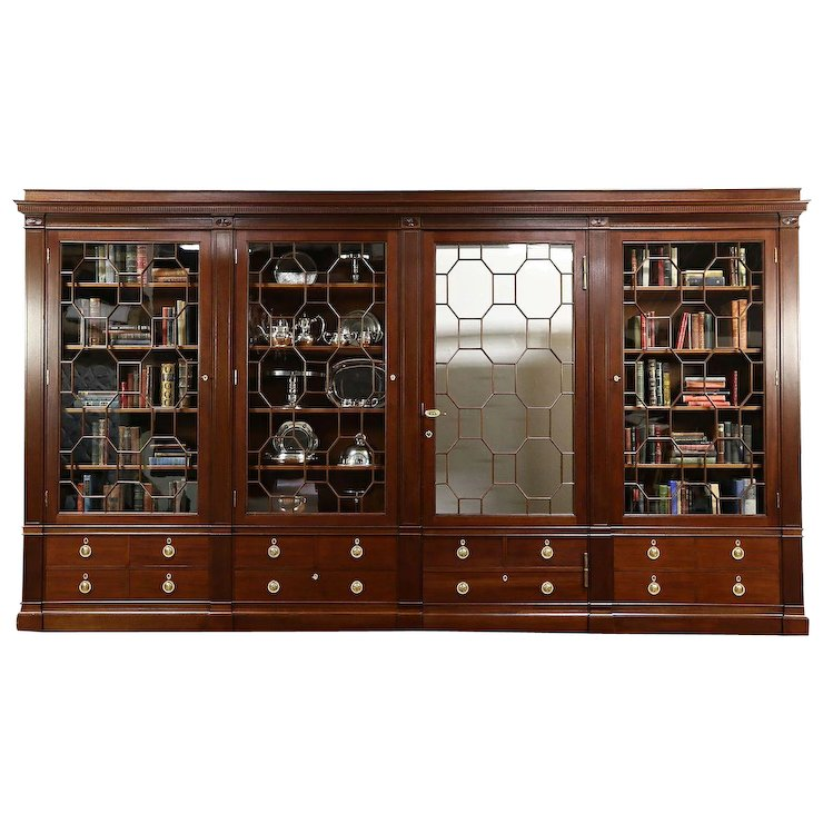 Classical Antique 1900 Mahogany China or Library Bookcase, Secret Door, ... - Classical Antique 1900 Mahogany China Or Library Bookcase, Secret