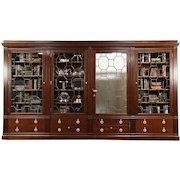 "Classical Antique 1900 Mahogany China or Library Bookcase, Secret Door, 13' 10"""