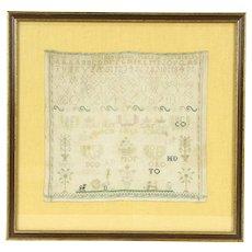 Sampler, 1840's Antique Hand Stitched Linen Needlework, Bird & Dogs