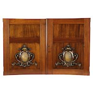 Pair Antique 1900 Architectural Salvage Hand Carved Mahogany Doors or Panels