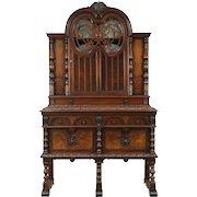 English Tudor 1925 Antique Walnut Carved China Cabinet or Back Bar