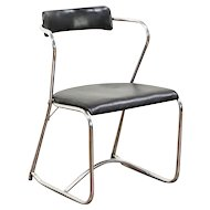 Midcentury Modern Chrome 1950 Vintage Chair, Original Oilcloth Upholstery