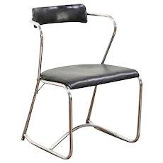 Midcentury Modern Chrome 1950 Vintage Chair, Original Oilcloth Upholstery
