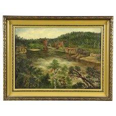 Wisconsin Dells Scene, Antique 1900's Original Oil Painting