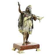 Native American Indian Antique 1890's Statue, Marble Base