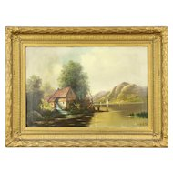 River Valley Mill Original Antique 1900 Oil Painting, Signed C H Bendl