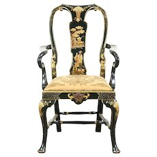 Chinese Style Hand Painted Vintage Chair with Arms, Black