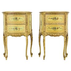 Pair of Marble Top 1930's Vintage Hand-Painted Nightstands or End Tables