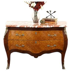 Bombe Tulipwood & Rosewood Marquetry Commode or Chest, Marble Top, Italy