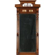 Victorian Walnut & Burl 1875 Antique Hall Mirror, Beveled Glass