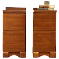 Pair Art Deco to Midcentury Modern 1950 Vintage Walnut Nightstands