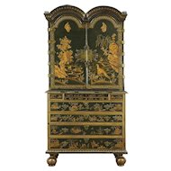 Chinese Painted English 1700's Antique Collector Cabinet of Curiosities & Desk