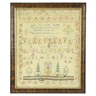 Linen Antique Needlework Popes Prayer Sampler, Signed Selena Hett 1811