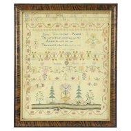 Linen Antique Needlework Popes Prayer Sampler, Signed Selena Hett 1811