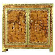 Mosaic Leather & Brass Nailhead Vintage Console Cabinet