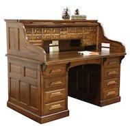 Raised Panel 1900 Antique Quarter Sawn Oak S Roll Top Desk, Signed Gunn