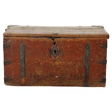 Pine 1850's Antique Pine Trunk or Chest, Wrought Iron Mounts