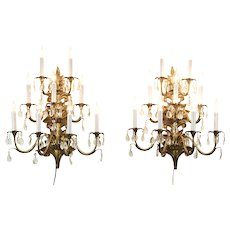Pair of Brass 9 Candle Brass & Crystal Prism Wall Sconce Lights