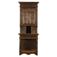 French Gothic Antique 1900 Oak Cabinet, Hand Carved Figures
