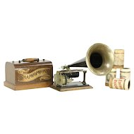 Oak Phonograph Graphophone Cylinder Record Player & Horn, Pat. 1897
