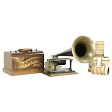 Oak Phonograph Graphophone Cylinder Record Player & Horn, Pat. 1897