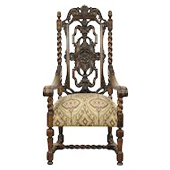 Renaissance Carved Oak Antique 1910 Throne or Hall Chair, New Upholstery