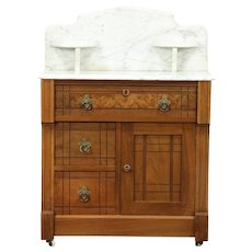 Victorian Eastlake 1870 Antique Chest, Washstand or Commode, Marble Top