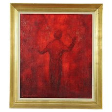 Maestro, Original Vintage Oil Painting of Orchestra Conductor, Holland, Signed