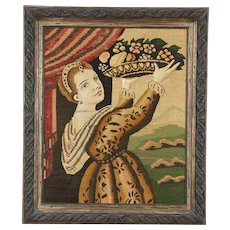 Tapestry of a Young Woman Bearing Fruit, Carved Frame