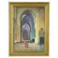 Gothic Church Cathedral Interior Original Scandinavian Oil Painting, Signed KPS