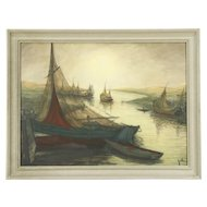Harbor & Sailing Ships, 1940 Vintage Scandinavian Watercolor Painting, Signed