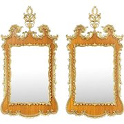 Pair of Vintage Carved Mahogany & Gold Mirrors, Italy