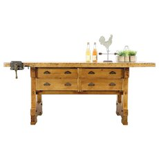 Carpenter Antique 1900 Maple Workbench, Kitchen Island, Wine Tasting Table