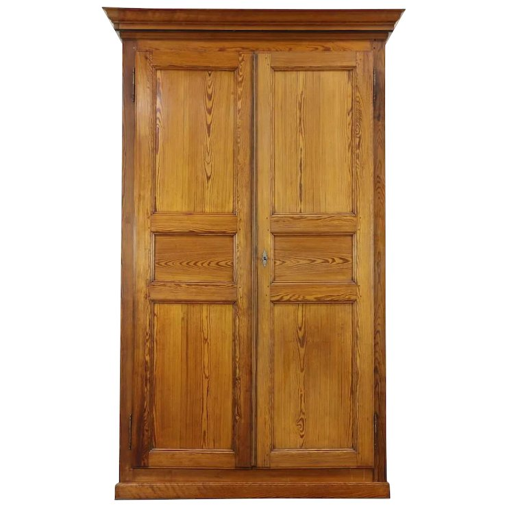 Pine Antique 1890 Hand Crafted Armoire, Wardrobe or Closet, Austria or Czech - Pine Antique 1890 Hand Crafted Armoire, Wardrobe Or Closet, Austria