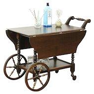 Oak Tea Cart or Beverage Trolley, 1930 Vintage