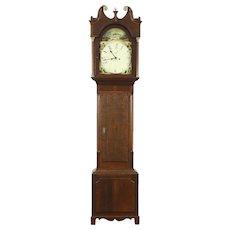 Georgian 1825 Antique Oak Grandfather Long Case Clock, Quartz Movement