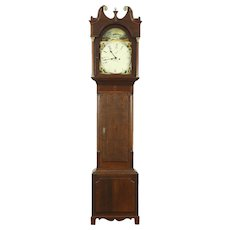 Georgian 1825 Antique Oak Grandfather Long Case Clock, Quartz Movement