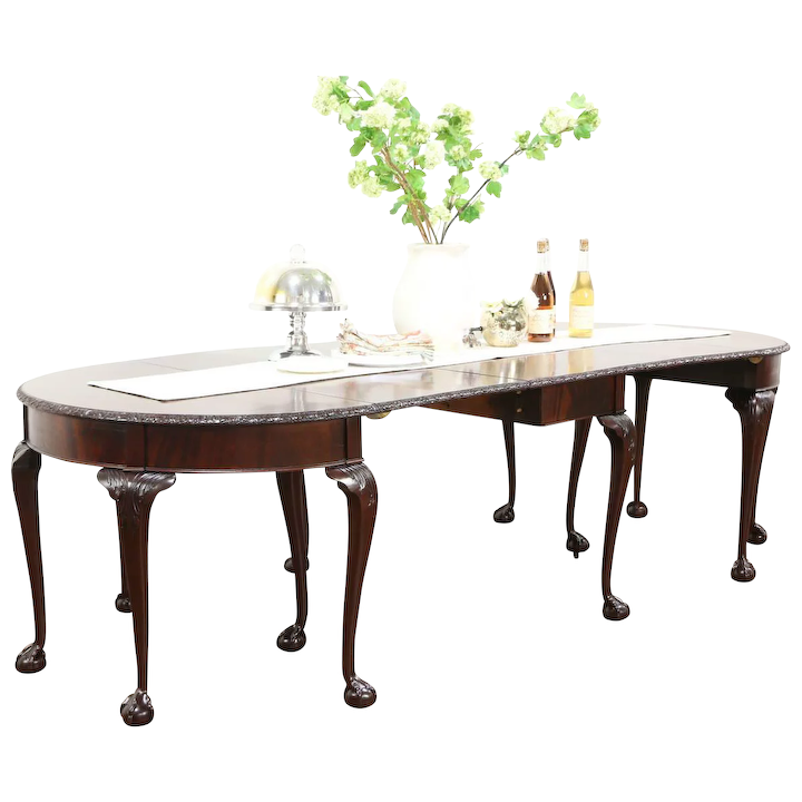 Georgian Carved Mahogany Antique 3 Pc Console Banquet Dining Table England