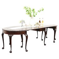 Georgian Carved Mahogany Antique 3 Pc. Console & Banquet Dining Table, England