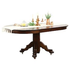 """Oak 1900 Antique 42"""" Round Dining Table, 2 Leaves, Carved Lion Paw Feet"""