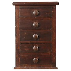 Primitive Pine Antique 1900 Tabletop File, Jewelry Chest or Collector Cabinet