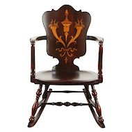 Rocker with Marquetry, 1900 Antique Rocking Chair