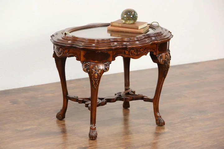 Carved Walnut Bird Marquetry 1930 S Vintage Coffee Table Gl Tray