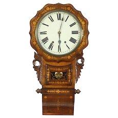 Wall Clock, 1870 Antique Dutch Walnut & Marquetry, Strikes Hour