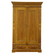 Grain Painted 1870 Antique Walnut Armoire, Wardrobe or Closet, Carved Hooks