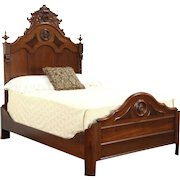 Victorian 1870 Antique Carved Walnut & Burl Full Size Bed