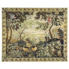 Needlepoint Vintage Tapestry, Peacocks, Parrots & Castle, Scandinavia