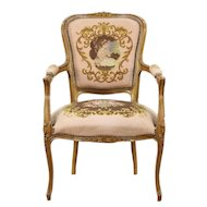 French Carved Vintage Chair, Needlepoint & Petit Point Upholstery